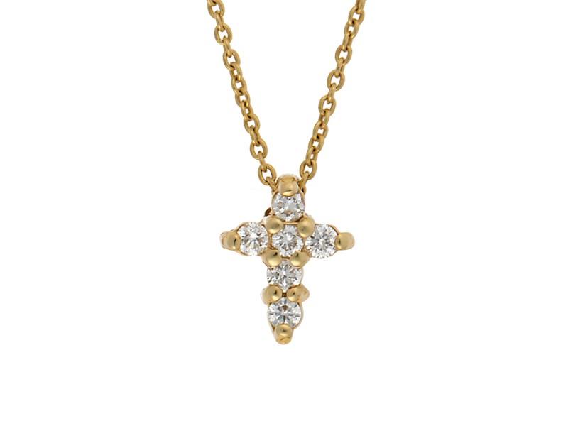 Roberto Coin 18K Yellow Gold Tiny Treasures Baby Cross Diamond Pendant Necklace