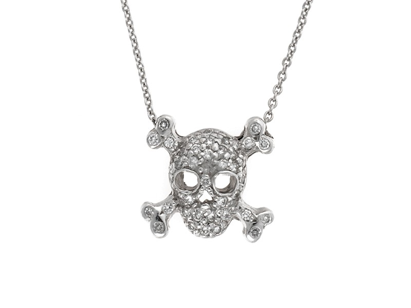 Roberto Coin 18K White Gold Tiny Treasures Diamond Skull and Crossbones Pendant Necklace