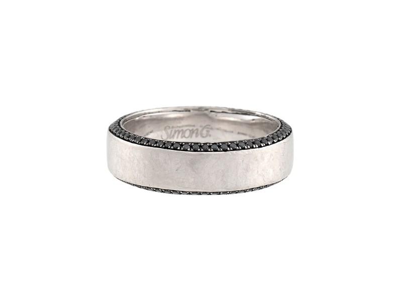 Simon G Platinum Wedding Band with Black 0.50ctw Diamonds Ring Size 9.5