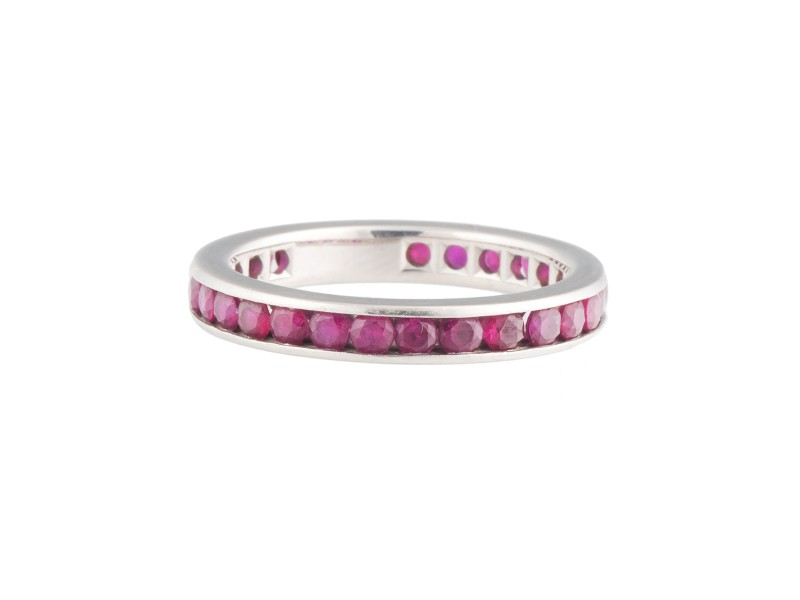 Tiffany & Co. Platinum Ruby Eternity Band Ring Size 6