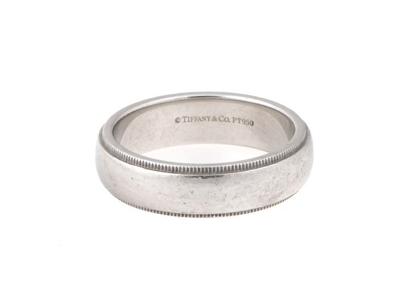 Tiffany & Co. 0.950 Platinum Millgrain Wedding Band Ring Size 9.5