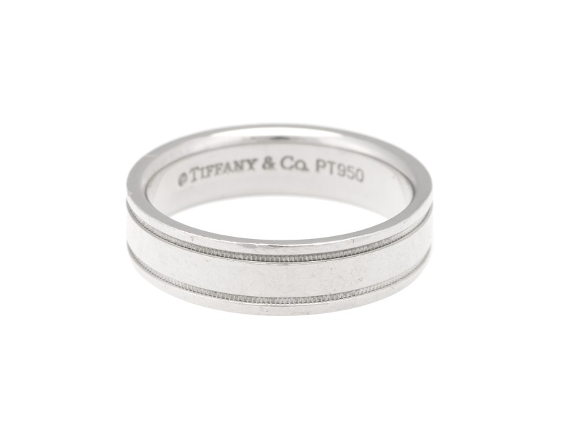 Tiffany & Co. Platinum Milgrain Mens Ring Size 11.5