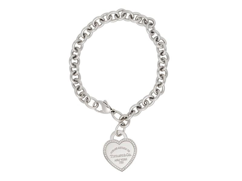 6ee0d4875 Tiffany & Co. 18K White Gold Return To Tiffany 0.26ctw Diamond Heart Tag  Bracelet