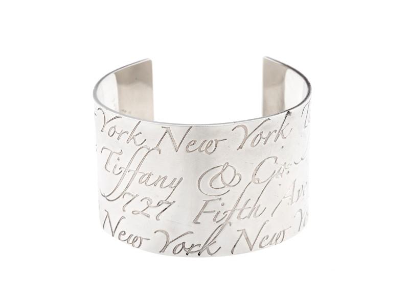Tiffany & Co. Sterling Silver Notes Wide Cuff Bracelet