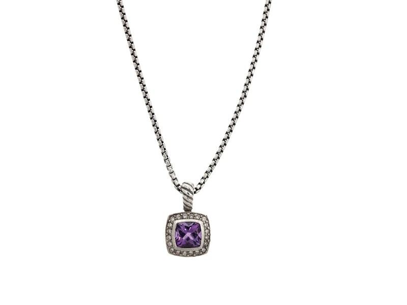 David Yurman Sterling Silver Amethyst and Diamond Albion Pendant Necklace