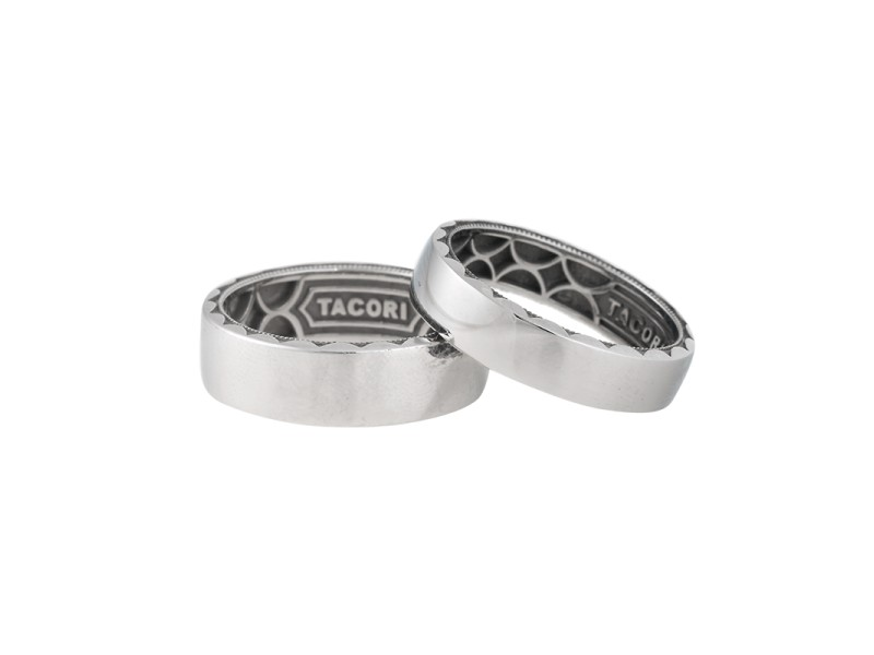 Tacori PT950 Platinum & Stainless Steel Scultped Crecsent Mens Wedding Band Set Ring Size 10