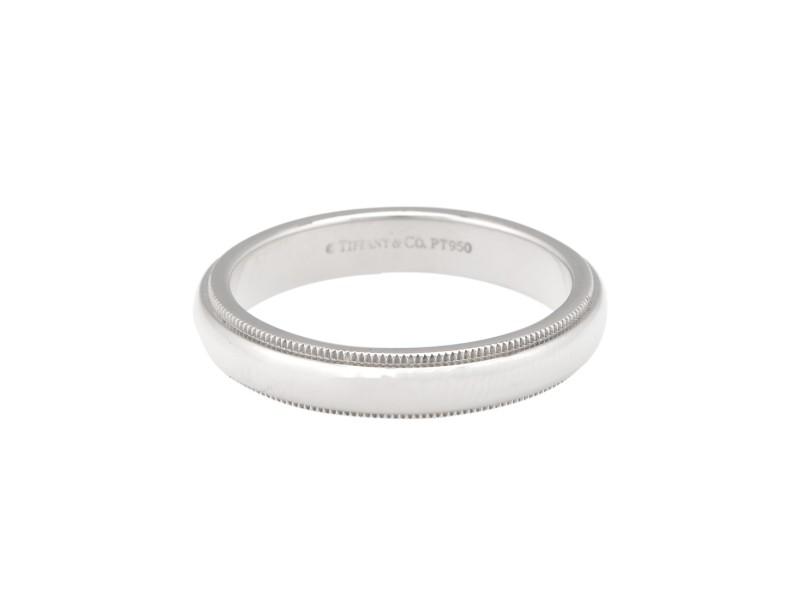 Tiffany & Co. Platinum Milgrain Ring Size 9