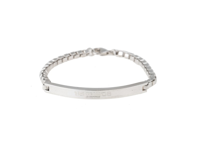 Tiffany & Co. Sterling Silver Box Link Bar Bracelet