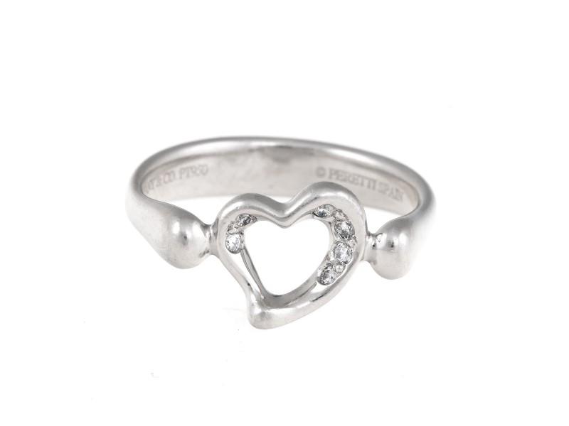 Tiffany & Co. Elsa Peretti Platinum Open Heart 0.10ct. Diamond Ring Size 5.5