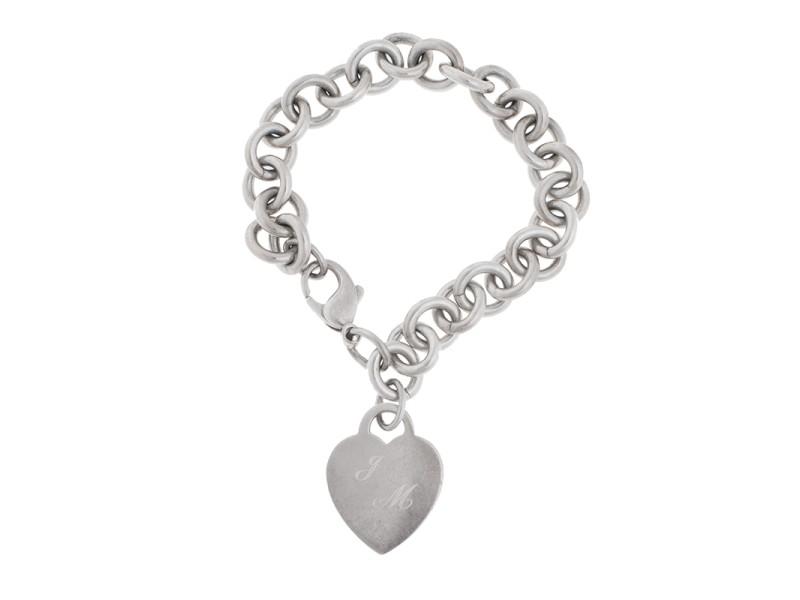 Tiffany & Co. Sterling Silver Heart Charm Link Bracelet