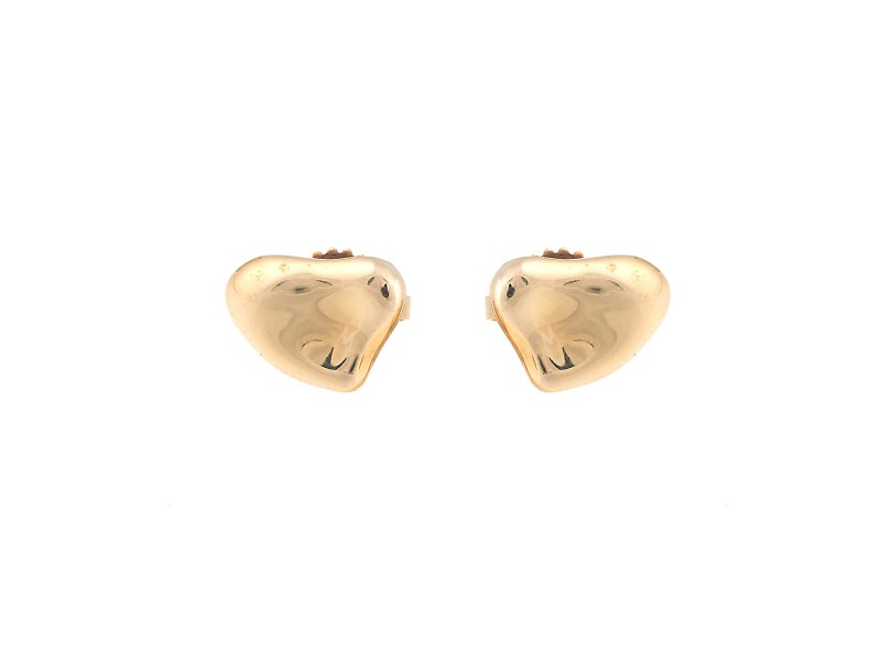 Tiffany Co 18k Yellow Gold Elsa Peretti Full Heart Earrings