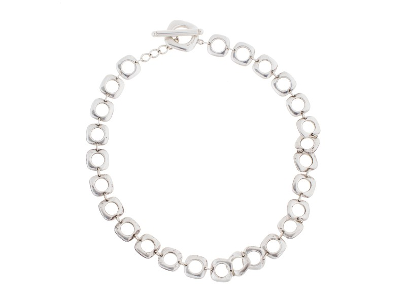 Tiffany & Co. Sterling Silver Square Cushion Link Necklace