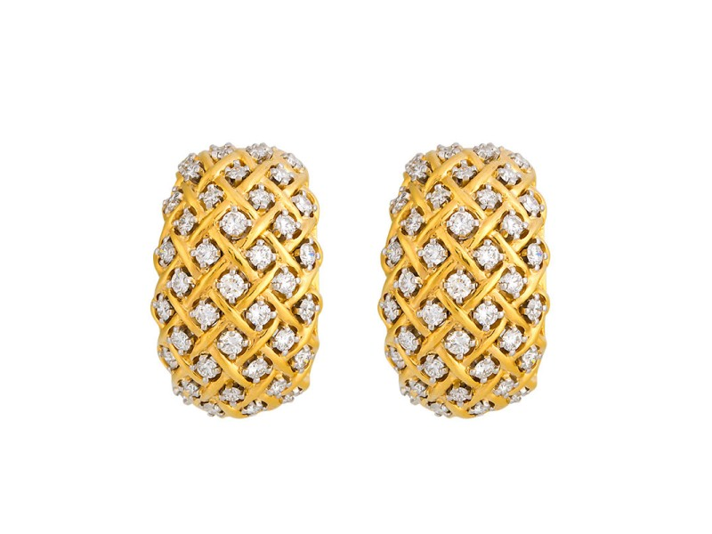 Tiffany & Co. 18K Yellow Gold Woven 1.60ct. Diamond Clips On Earrings
