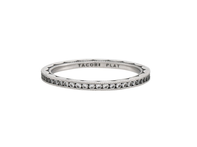 Tacori Platinum & 0.42ctw Diamond Sculpted Crescent Eternity Band Ring Size 7.5