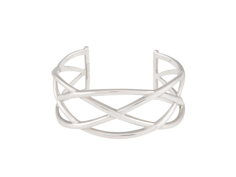 Tiffany & Co. Sterling Silver Wide Weave Cuff Bracelet
