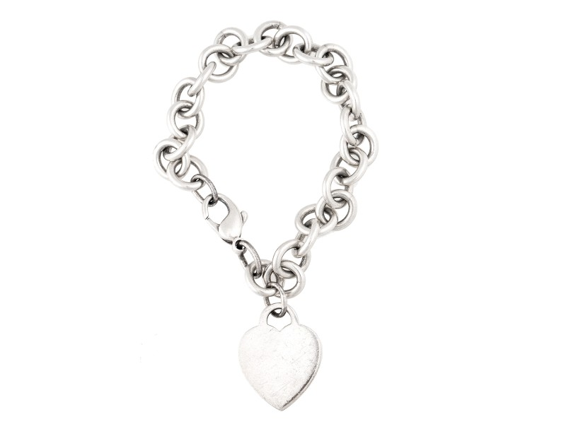 Tiffany & Co. Sterling Silver Heart Tag Pendant Bracelet