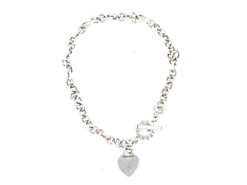 Tiffany & Co. Sterling Silver Heart Chain Link Necklace