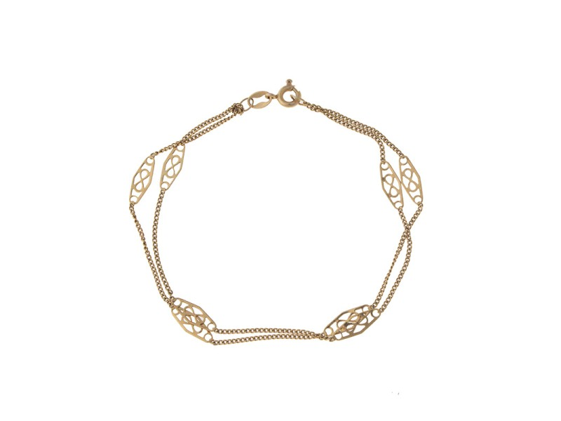 14k Yellow Gold Double Row Bracelet