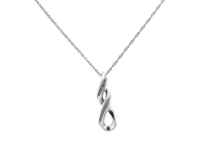Sterling Silver Double infinity Diamond Necklace