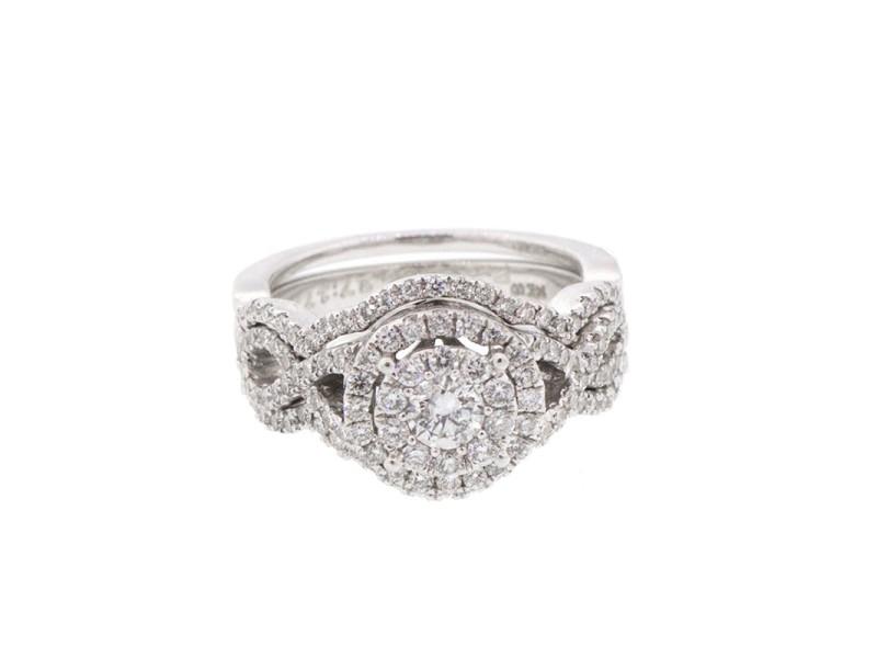 14K White Gold Engagement and Wedding bad Set