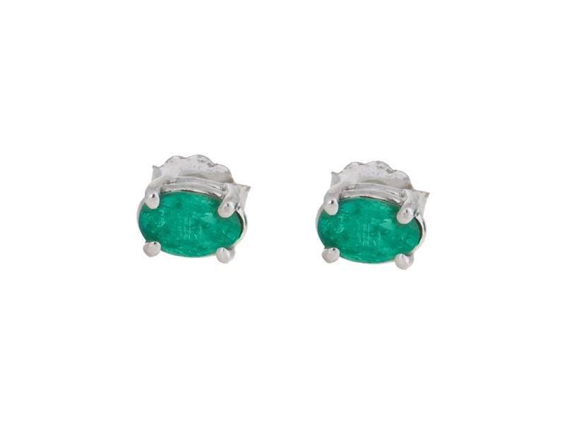 14K White Gold 1.00 Ct Emerald Stud Earrings