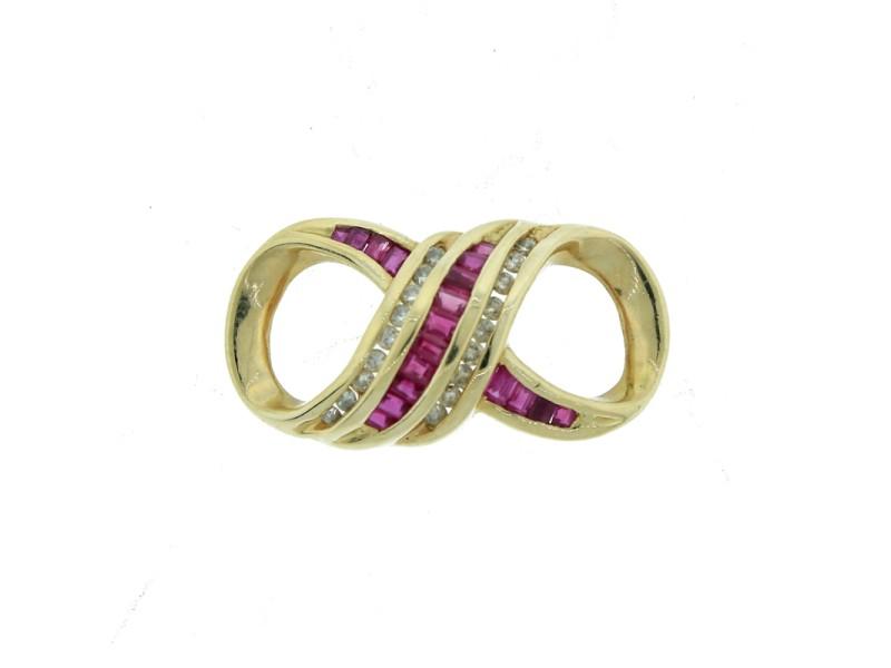 14K Yellow Gold, Ruby & Diamond Infinity Pendant