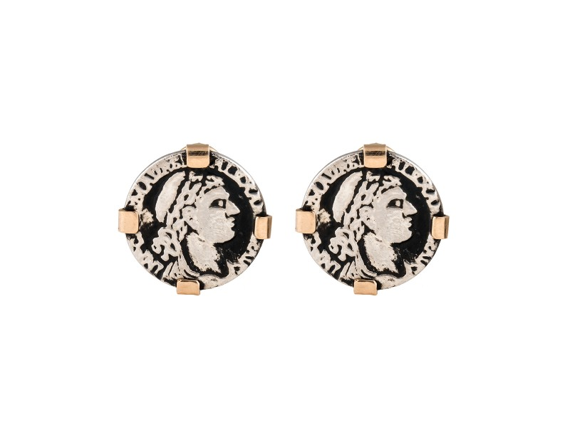 14K Yellow Gold and Sterling SIlver Greek Coin Earrings