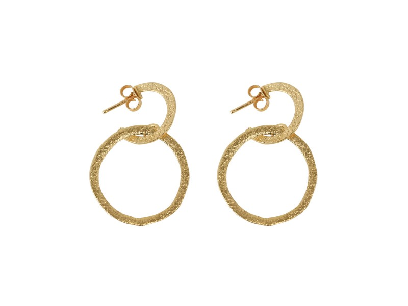 14k Hammered Yellow Gold Double Hoop Dangle Earrings