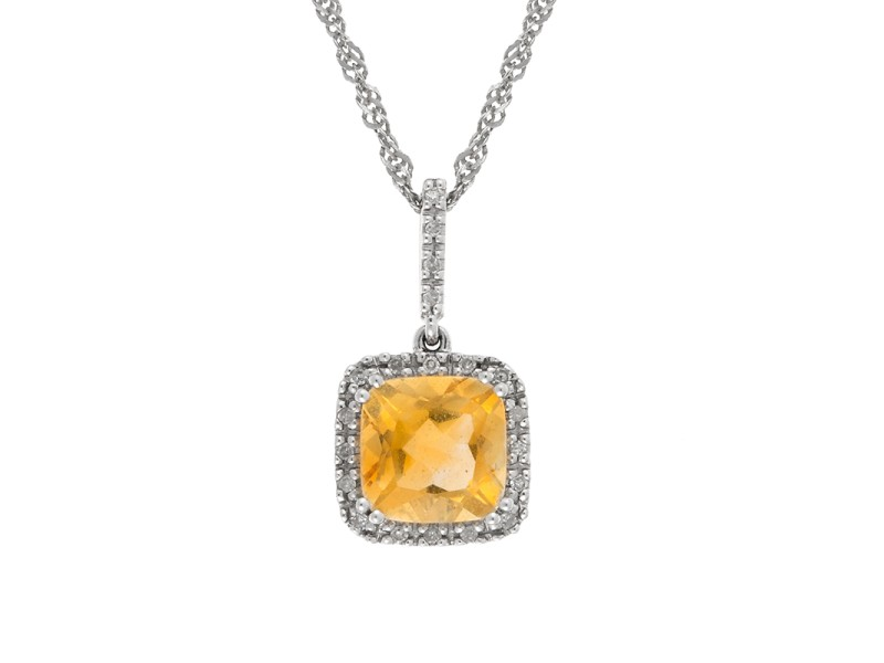 14K White Gold Citrine and Diamond Pendant on 18K White Gold Necklace