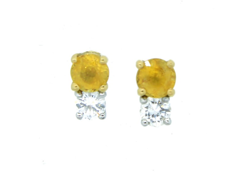 14K White Gold Diamond & Yellow Sapphire Earrings