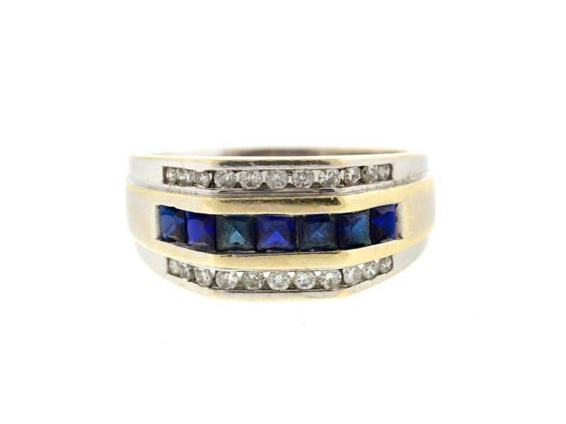 10k White Gold Diamond and Sapphire Mens Ring