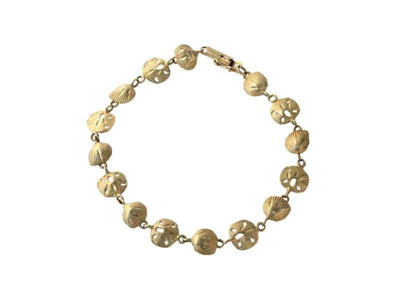 14k Yellow Gold Shell Link Bracelet