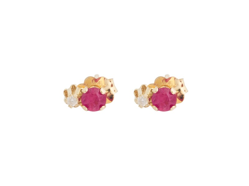 14K Yellow Gold Ruby and 0.01 Ct Diamond Stud Earrings