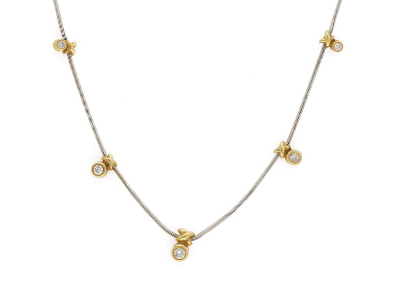 14K White Gold Chain with 14K Yellow Gold Bezel Set Diamond Hanging Stations