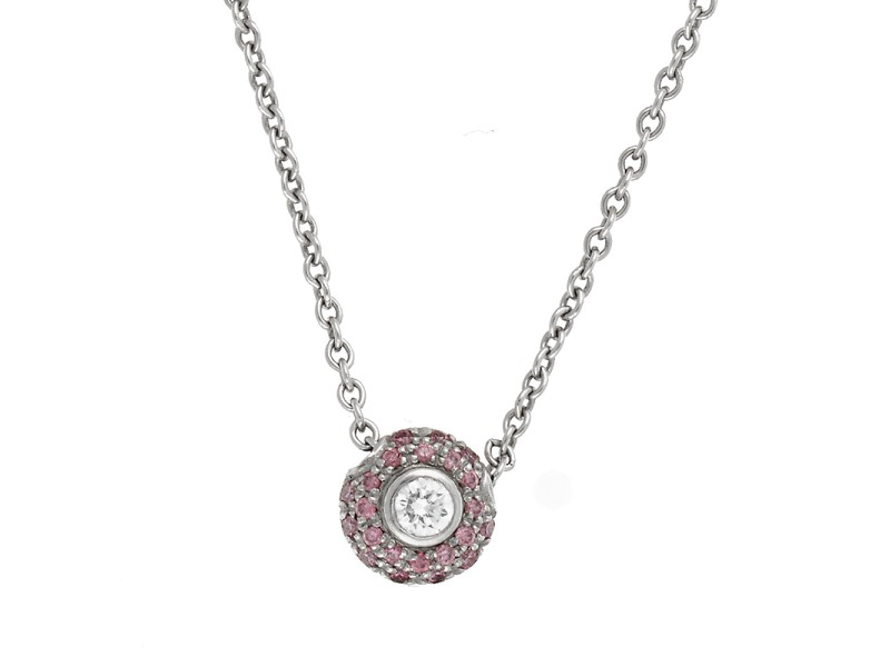 Platinum Pink Sapphire and Diamond Pendant Necklace