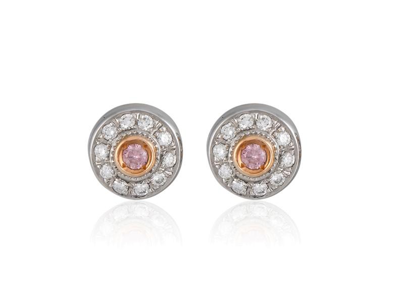 Platinum and Rose Gold Pink Diamond Stud Earrings