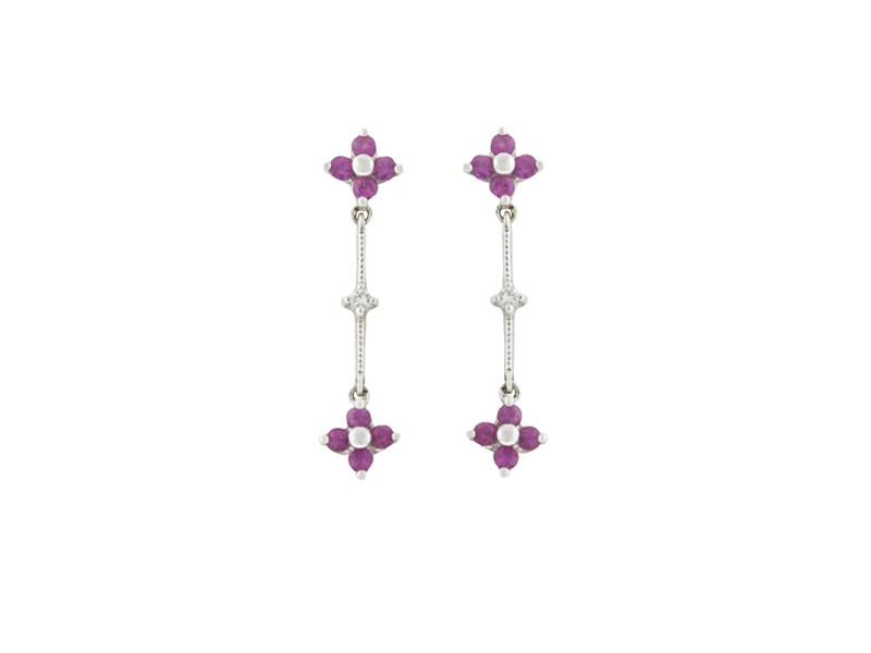 14k White Gold Pink Sapphire and Diamond Drop Earrings