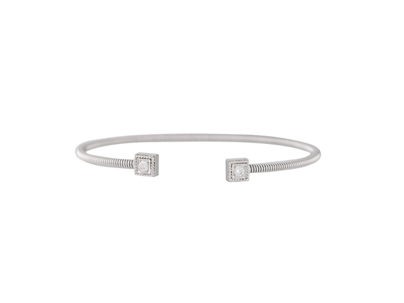 18K White Gold with 0.18ctw Diamond Station Cuff Bracelet