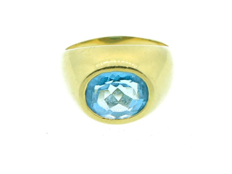 18K Yellow Gold & Blue Topaz Ring