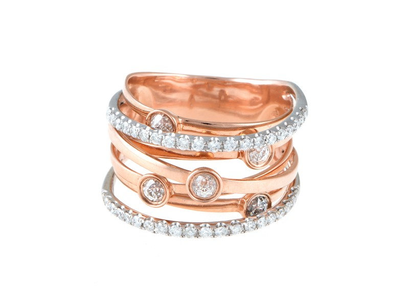 14K Rose Gold 1.00ct. Diamond Band Ring Size 7
