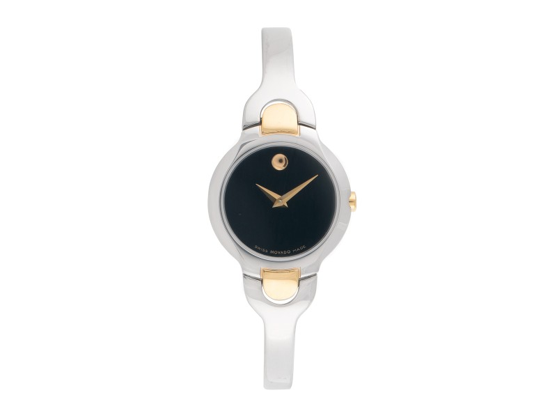 Movado Kara 81 A1 1846 Dual Tone Stainless Steel with Gold Plating Black Dial 25mm Womens Watch