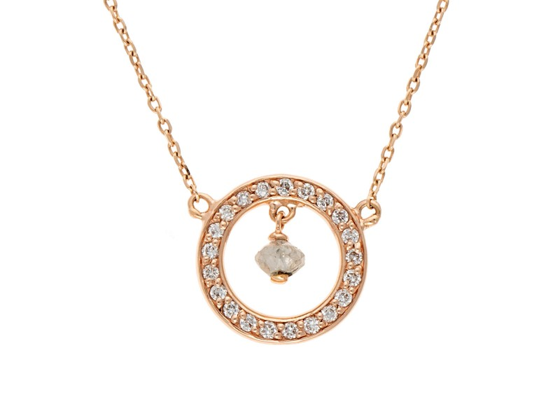 14K Rose Gold Pave Diamond Circle Pendant Necklace with 0.05ctw Rough Diamond