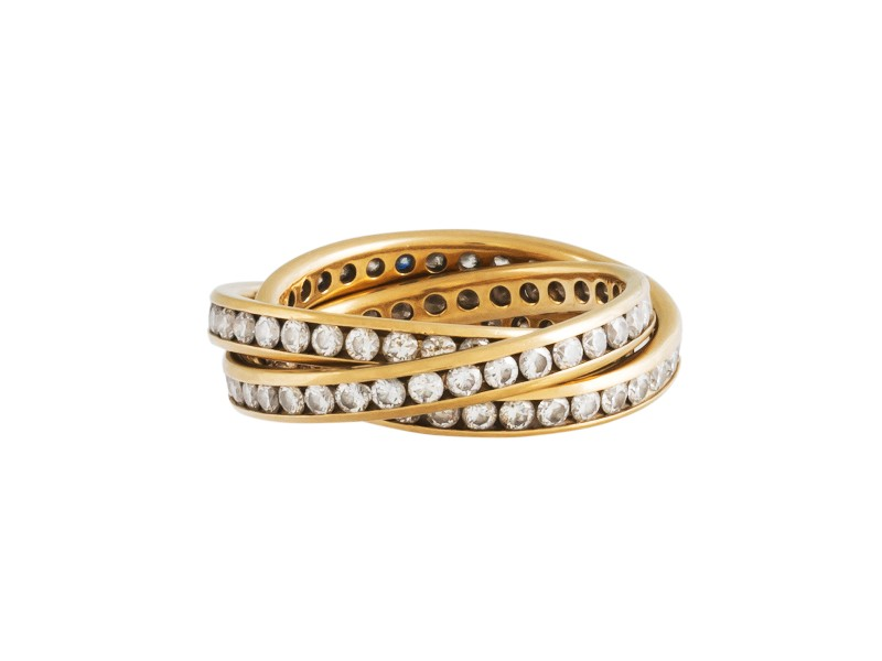 14k Yellow Gold and Diamonds 3 Band Rolling Ring Size 7