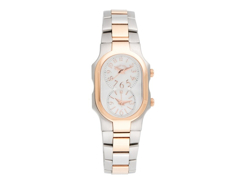 Philip Stein Signature Dual-Dial Stainless Steel with Rose Gold Plating 28mm Womens Watch