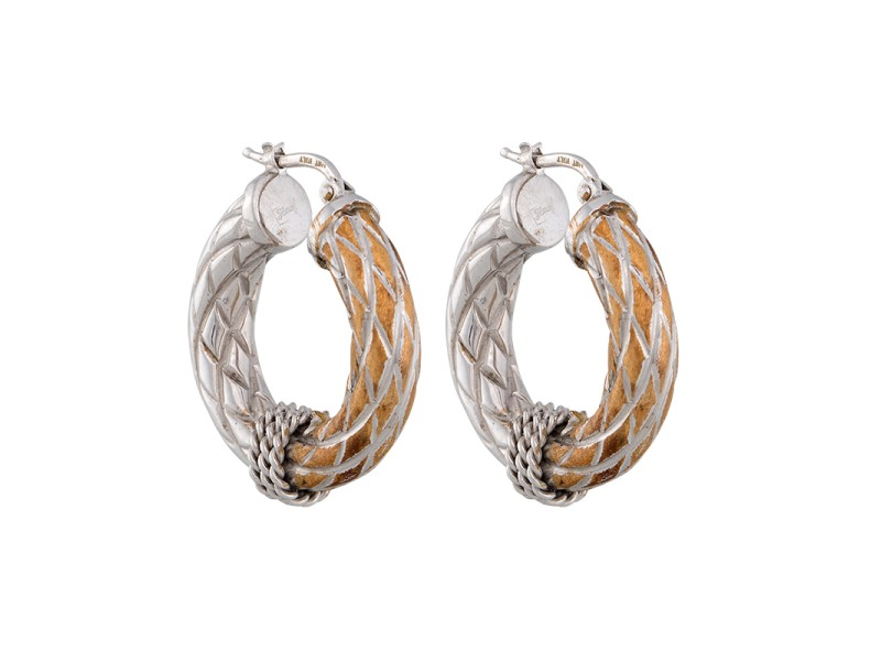 14K White Gold Yellow Gold Brushed Finish Hollow Hoops