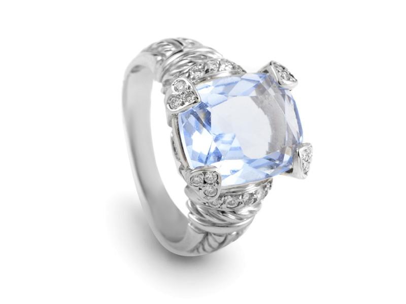 Judith Ripka 18K White Gold Quartz & Diamond Ring