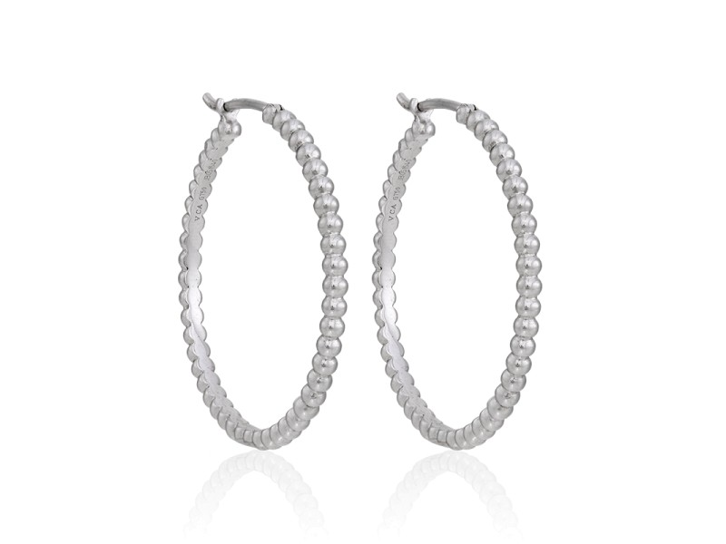 Van Cleef & Arpels 18K White Gold Perlee Hoop Earrings