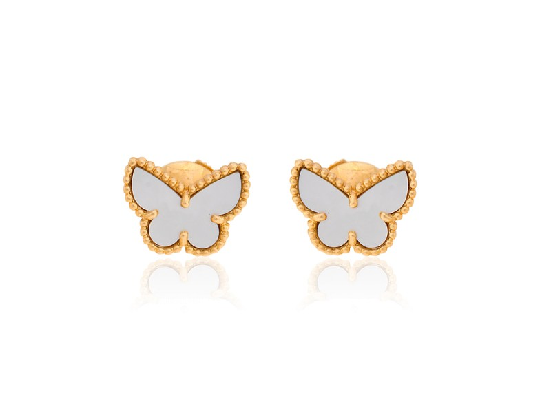 Van Cleef & Arpels Sweet Alhambra 18K Yellow Gold with White Mother of Pearl Butterfly Earrings