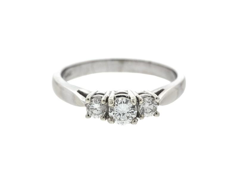 14k White Gold 3 Stone Diamond Ring