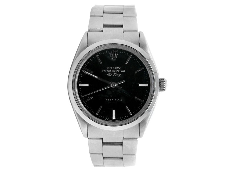 Rolex Air King Black Dial Stainless Steel Mens Watch Ref 14000